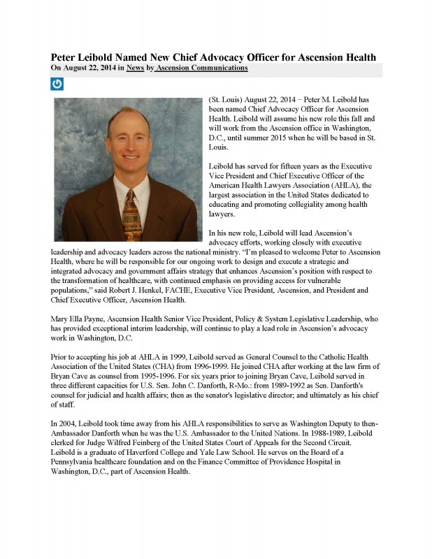 Leibold Named New Chief Advocacy Officer for Ascension Health 8-2014_Page_1